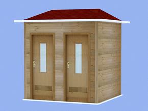 防腐木环保厕所2蹲位YT-CS007
